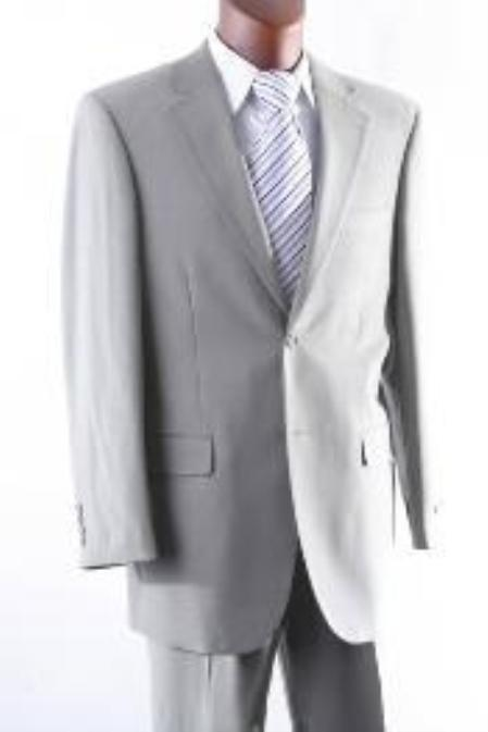 SKU#VF8493 Mens 2 Button 100% Wool Suit W Single Pleat Pants greenish color with some hint of Gray