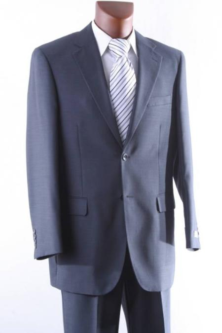 SKU#BT7830 Mens 2 Button 100% Wool mid Suit Single Pleat Pant Mid Grey