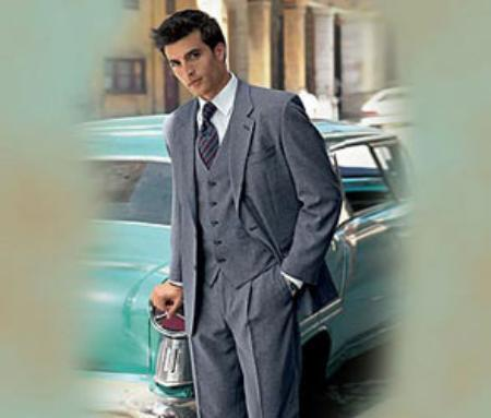 SKU# SAMU303 Mens Medium Gray 3 Piece three piece suit made from Super 150s Wool