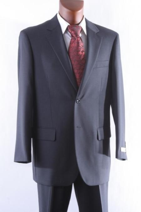 SKU#PH7845 Mens 2 Button 100% Wool Suit Single Pleat Pants Charcoal