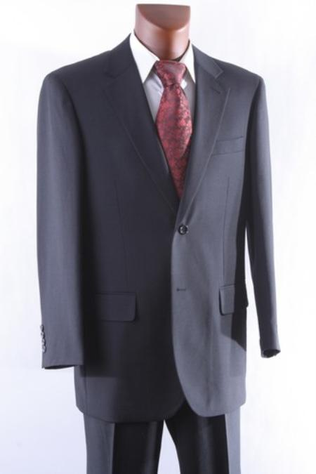 SKU#KP7831 Mens 2 Button 100% Wool Suit W Single Pleat Pants Black