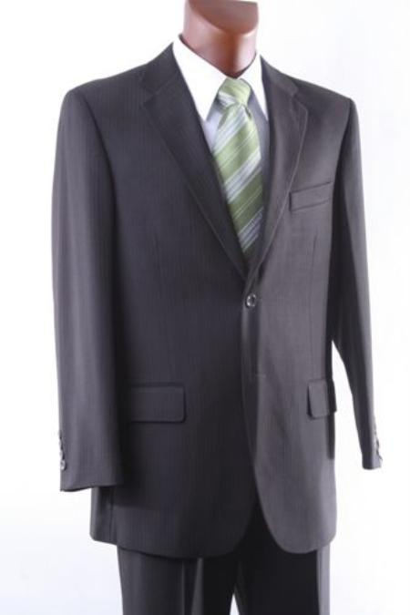 SKU#UH8170 Mens 2 Button Brown Pinstripe Dress Suit Single Pleat