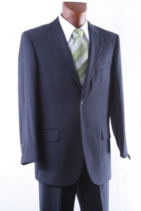 SKU#RK9045 Mens 2 Button Navy Pinstripe Dress Suit Single Pleat $150