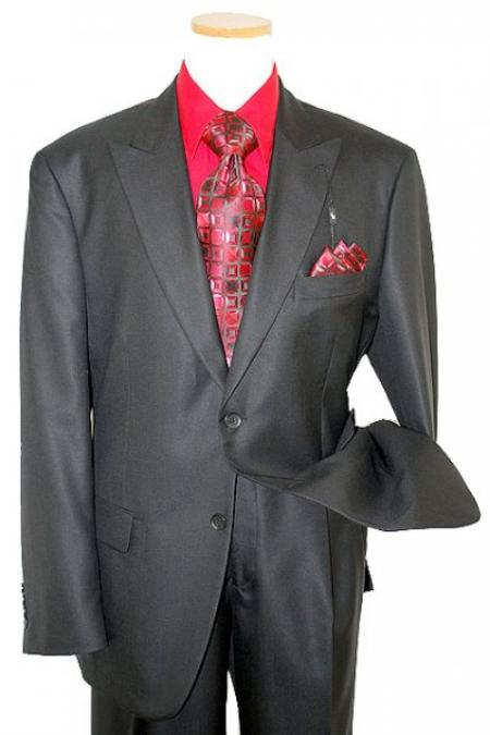 SKU#KA7683 Classic Collection Solid Black Super 120s Merino Wool & Silk Suit