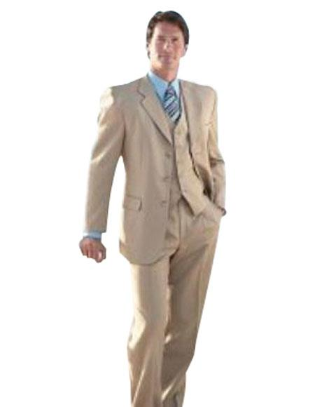 Buy MANA_303_300A Elegant 3 Piece Tan ~ Beige Mens three piece suit Made Crafted Super 150's premier quality italian fabric Wool 2 buttons style $179( Price available)
