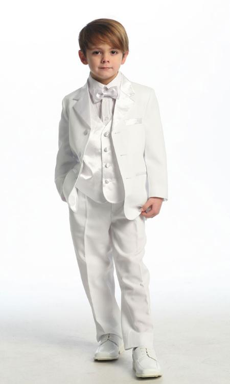 SKU#KA2348 White Single Breasted Tuxedo with Vest $89