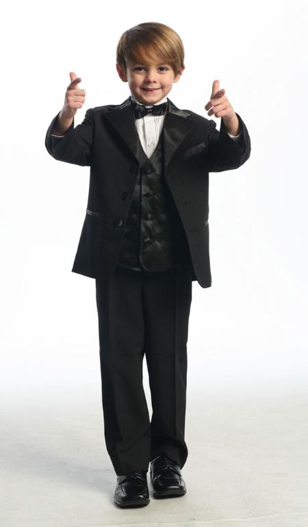 SKU#KA7609 Black Single Breasted Tuxedo with Vest $89