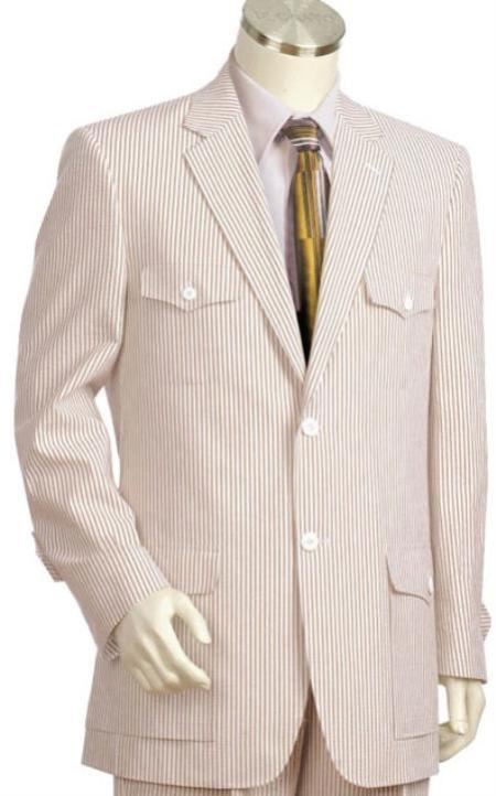 SKU#RE4108 Mens 2pc 100% Cotton Seersucker Suits brownoffwhite $159