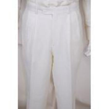 Pants Solid White 2 Pleated Wool