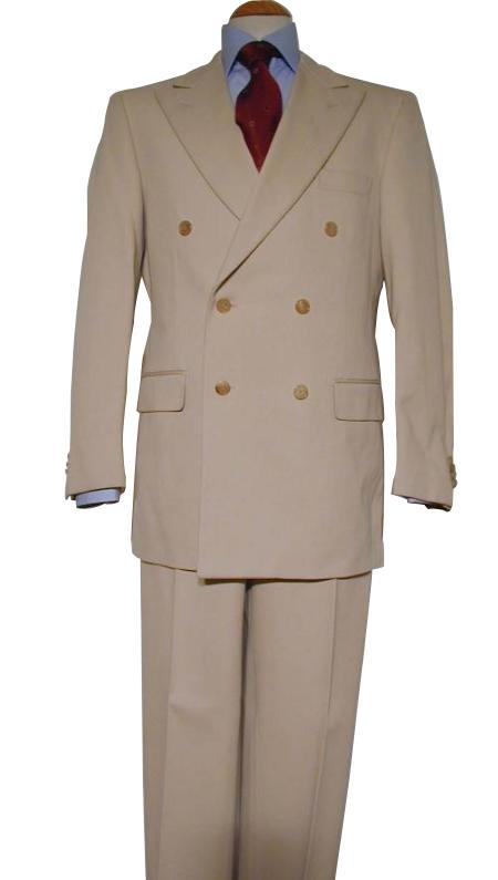 SKU#WTXDB1  Tan ~ Beige Pure Virgin Wool Feel Rayon Viscose Double Breasted Mens Suit