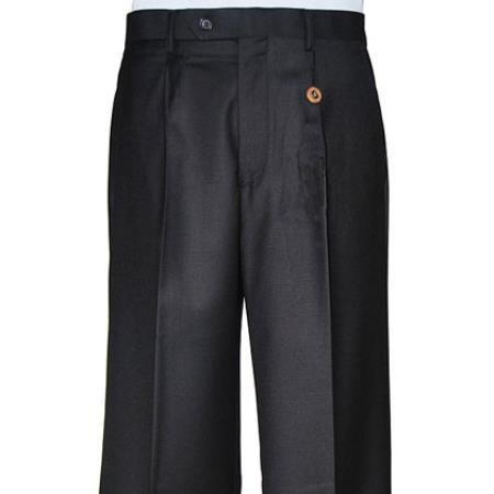 Black Single-pleat Dress Pants