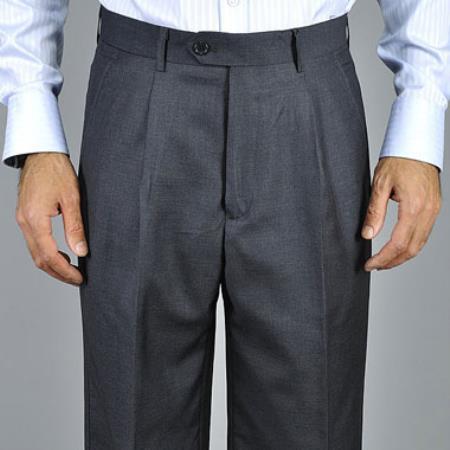 Charcoal Single Pleat Pants