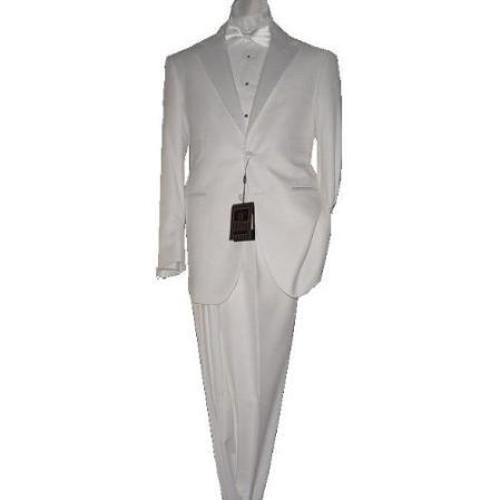 SKU#KA5467 White 2 Button Tuxedo Super 150s Fabric