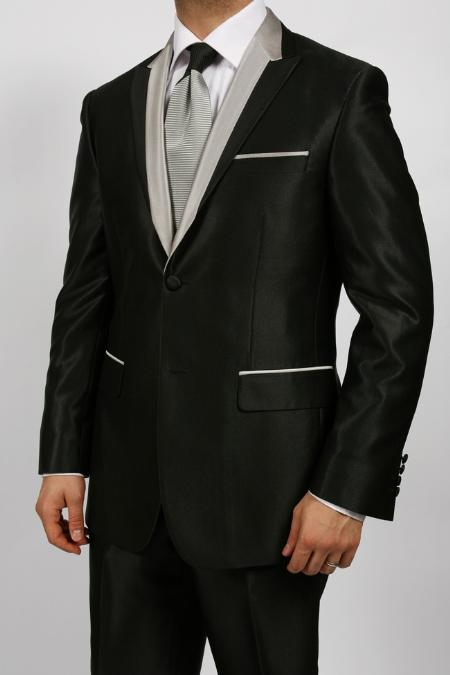 SKU#KA1245 2 Button Tuxedos Shiny Sharkskin Two Tone Suit $149