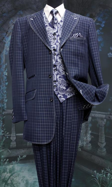 SKU#GN6374 Mens 5 Piece Fashion Zoot Suit Including Matching Vest, Tie and Hankie Navy $220
