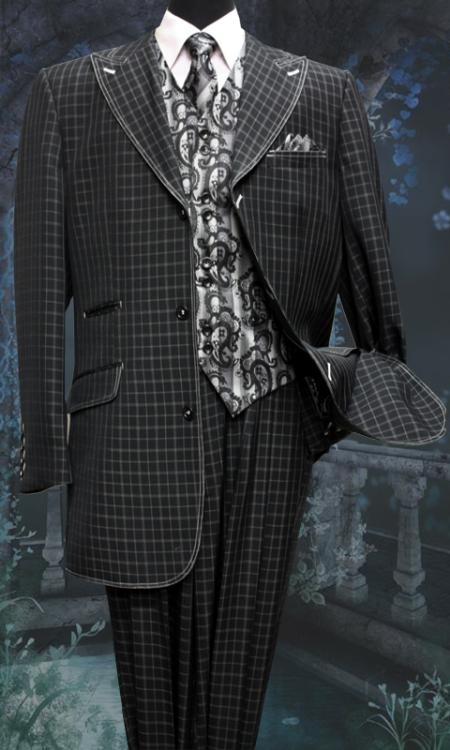 SKU#TM5178 Mens 5 Piece Bold Pronounce  Fashion Suit with Square Pattern Including Vest, Tie & Hankie Black $220
