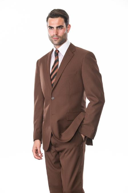 SKU#VF7299 Mens 2 Piece 2 Button Super 150s Extra Fine Coco Tone on Tone Stripe Suit $165