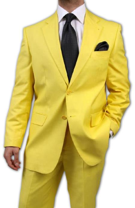 SKU#KA1456 Mens Two Button Yellow Suit $175
