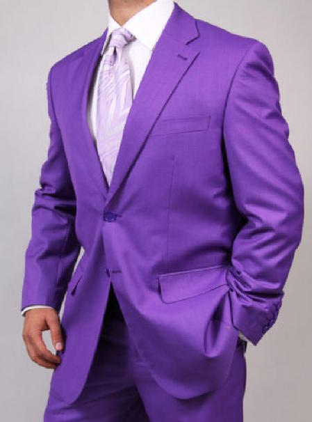 SKU#KA1459 Mens Two Button Purple Suit $175