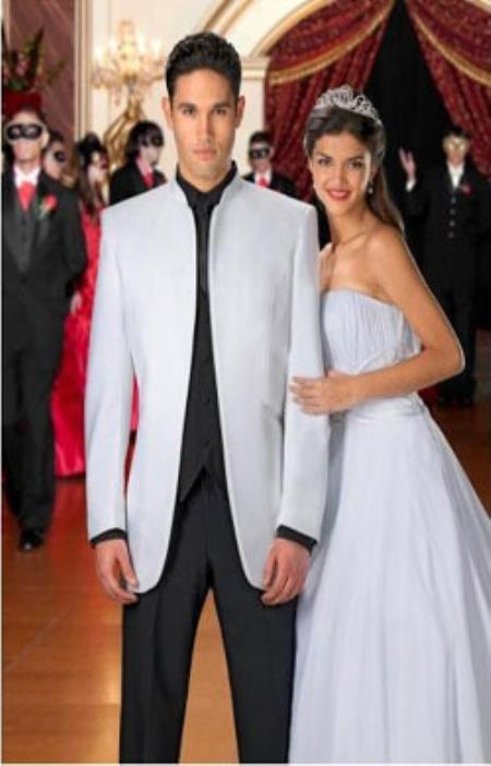 SKU#KA1473 White Mandarin Mirage Tuxedo  With Matching Black Pants $229