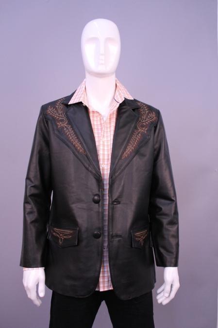 Men's Black Leather Blazer