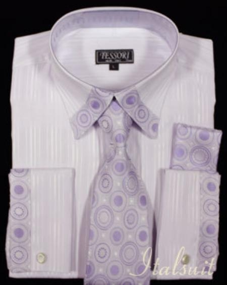 SKU#QA2032 Lavender Shirt Tie and Hankie Set $65