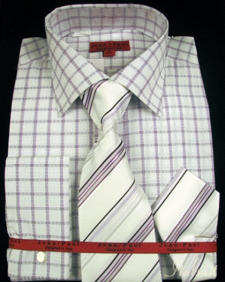 SKU#LM3281 Lavender Shirt Tie and Hankie Set $65