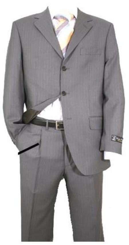 SKU# 643 Light Gray Pinstripe Super 120s Wool $275