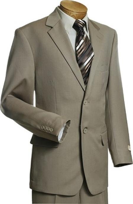 SKU#YG2318 Man Exclusive 2 Button Taupe Mens Wool Suit Taupe