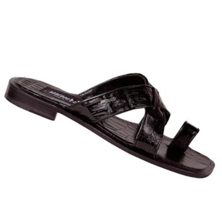 SKU#BK4505 Mauri Black Genuine Baby Crocodile Sandal $ 425