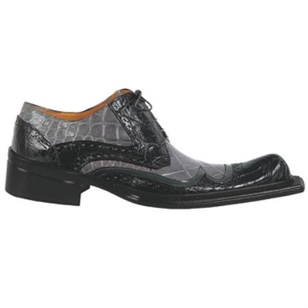 SKU#KR3420 Mauri Black & Grey Genuine Ostrich $960