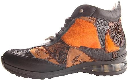 SKU#JZ5018 Mauri Black Nappa/Juvenile Crocodile/Orange Patchwork Black $358