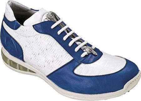 SKU#YG4581 Mauri Blue/White Nappa Leather/Embossed Baby Crocodile Blue/White $274