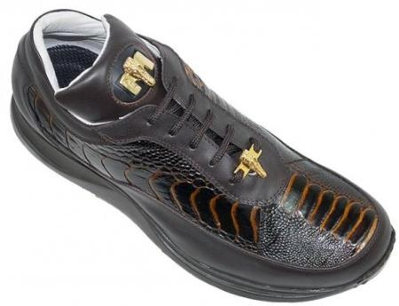 SKU#GB6218 Mauri Brown/Cognac Genuine Ostrich And Nappa Leather With Gold Mauri Alligator Head $179