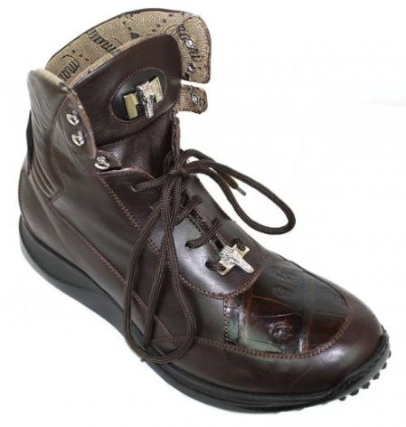 SKU#JS6917 Mauri Choclate Brown Genuine Alligator Boots $374