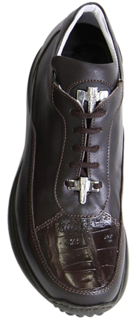 SKU#GR4522 Mauri Chocolate Brown Genuine Crocodile / Nappa Leather With Silver Mauri Alligator $379