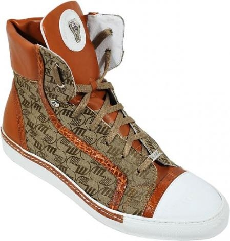 SKU#TF4517 Mauri Cognac / Beige Double Mauri fabric Mogano / Nappa / Flanks High Top Sneakers $579