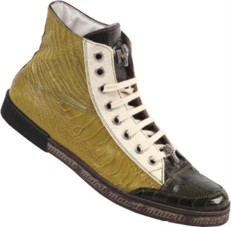 SKU#JT8340 Mauri Cream / Apple / Money Green Genuine All-Over Ostrich Leg $449