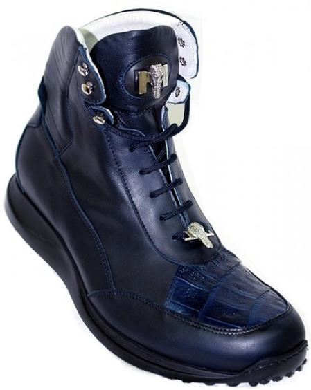 SKU#TX5537 Mauri Navy Blue Genuine Alligator Casual Boots $174