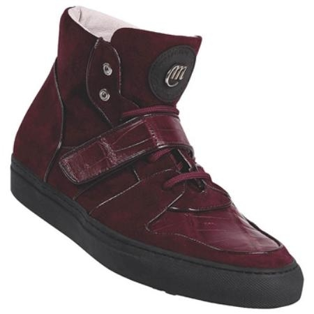 SKU#WN2007 Mauri Ruby Red Nappa Calf & Genuine Baby Crocodile $470