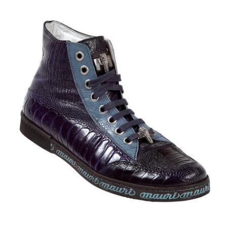 SKU#BT6729 Mauri Spider Navy/Iris/Jeans Genuine All-Over Ostrich Sneakers With Silver Mauri Alligato