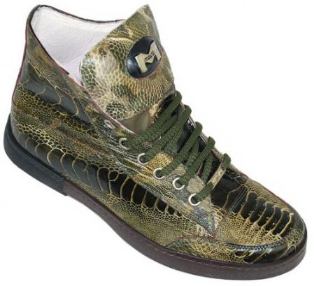 SKU#GY5299 Mauri Unveiled Military Green All Over Genuine Ostrich Boots $679