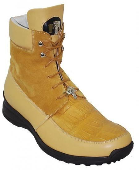 SKU#KH6751 Mauri Yellow Pepper Genuine Alligator/Suede Casual Boots $209
