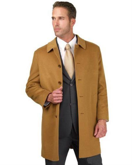 SKU#AF1234 Mens 90% Italian Wool Camel ~ Khaki