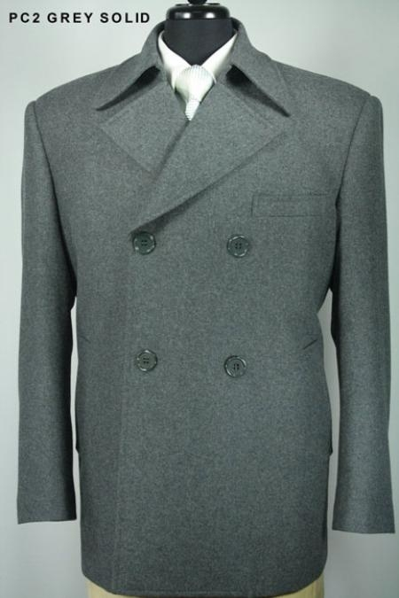 SKU#LX4933 Mens 100% Wool Double Breasted Pea Coat Grey $99