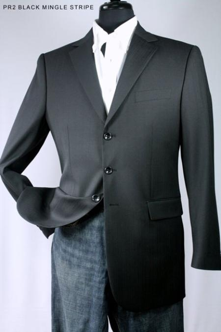 SKU#BM9221 Mens 100% Wool Sport Jacket Black Mingle Stripe $139