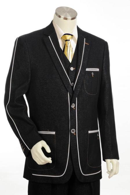 SKU#XV6766 Mens 2 Button 3pc Fashion Denim Cotton Fabric Trimmed Two Tone Blazer/Suit/Tuxedo Black