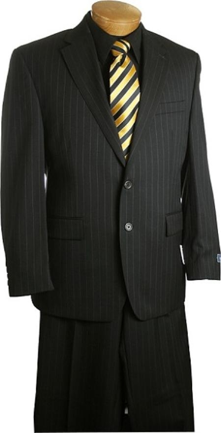 SKU#TH6380 Mens 2 Button Black Pin Stripe Suit Black $175