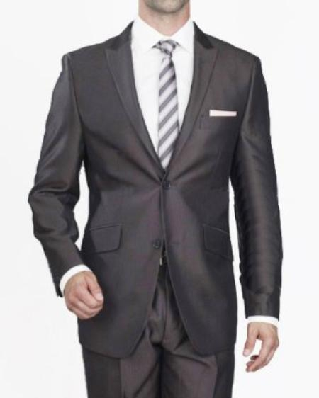 SKU#TG4536 Mens 2 Button Black Thin Stripe Slim Suit $109