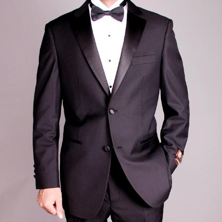 SKU#RA7788 Mens 2-button Black Tuxedo